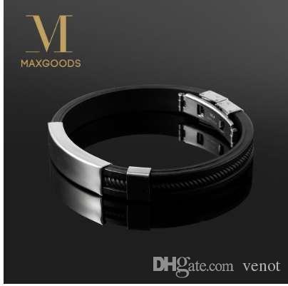 Nueva pulsera de moda punky negro de goma de silicona de acero inoxidable hombres pulseras brazaletes pulseras hombre caucho