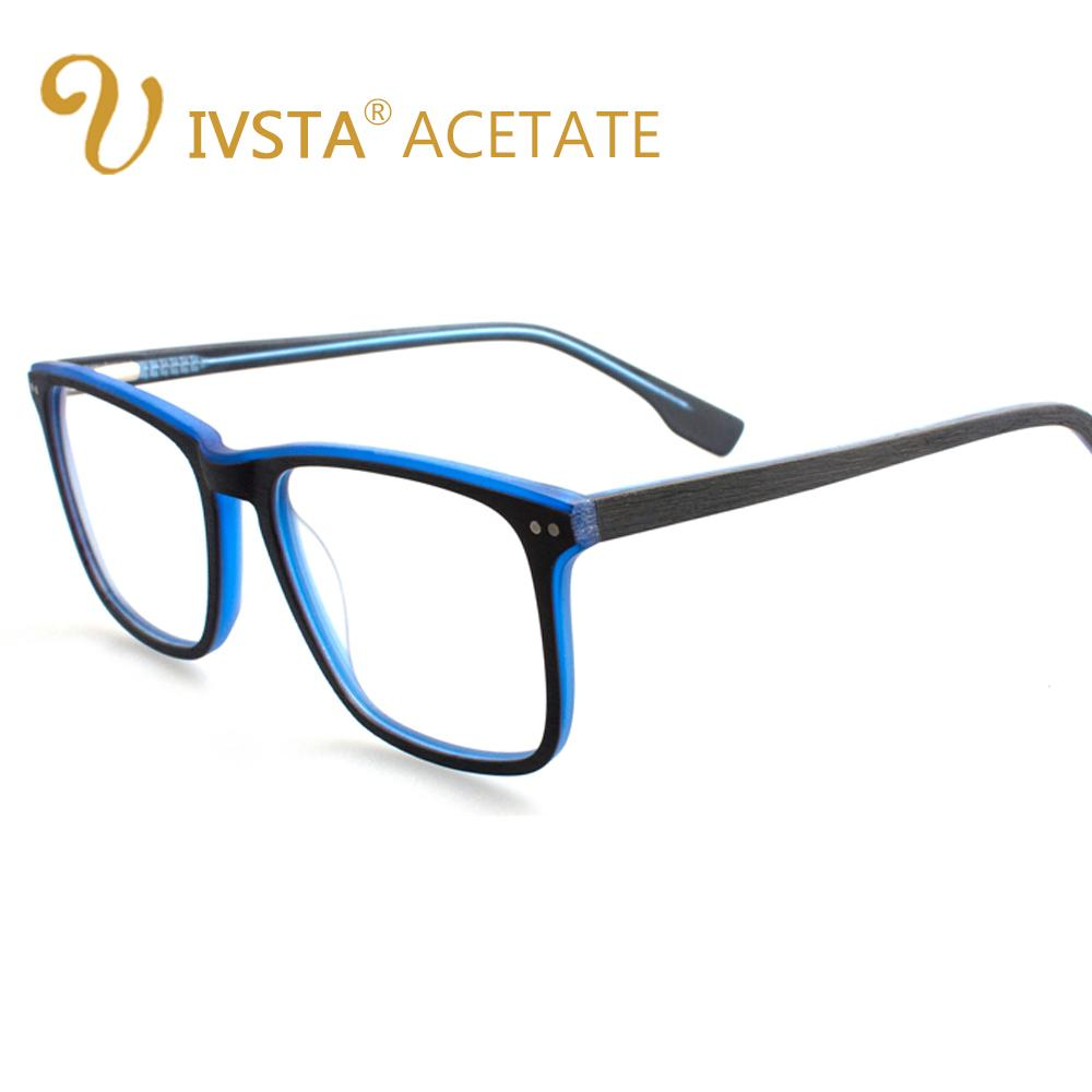 IVSTA Handmade Wood Glasses Men Wooden Frame Fashion Big Oversized Square Optical Prescription Eyewear Acetate Degree Spectacle