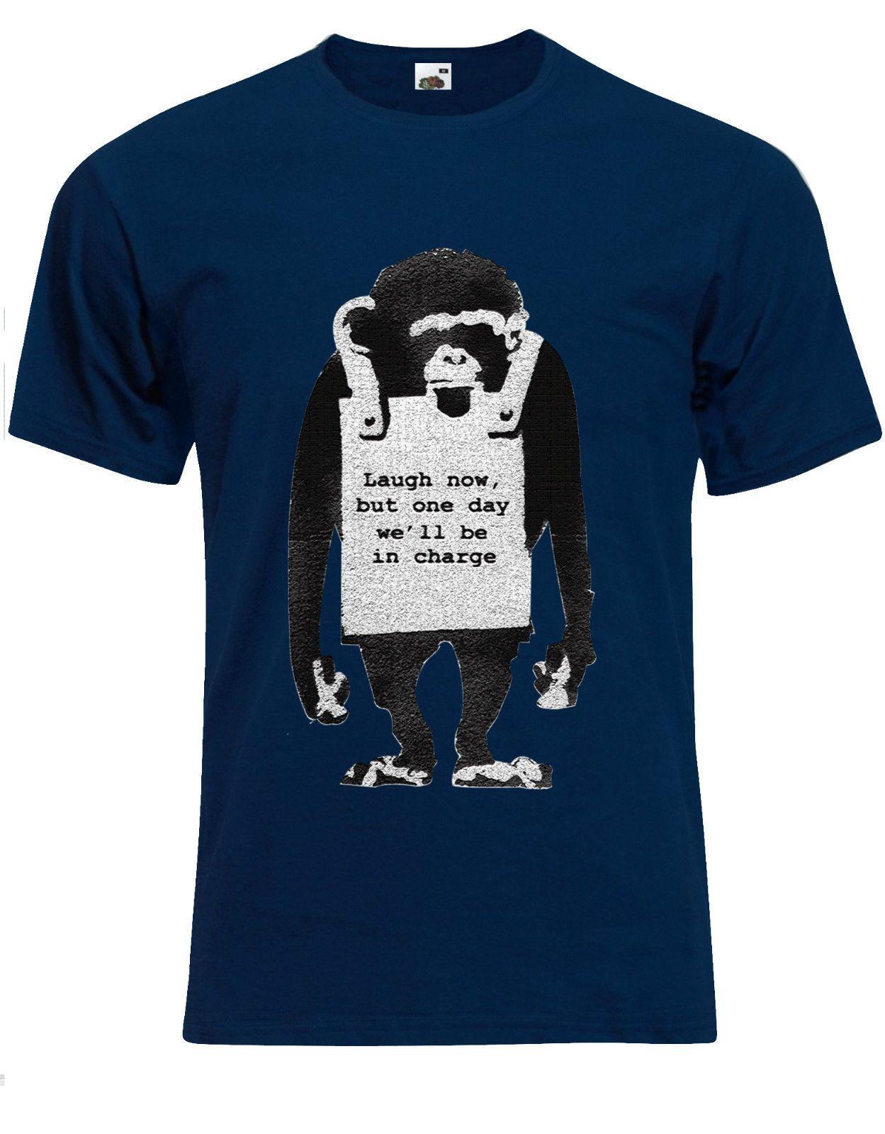 Banksy Laugh Now Sandwich Board Wearing Monkey Mens Tshirt Tee Top AG83