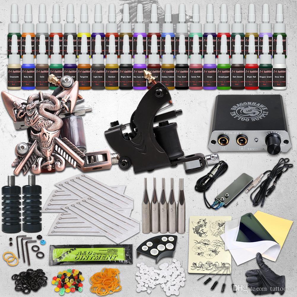 المهنية الكاملة أدوات الوشم 2 البنادق آلات 40 مجموعات الحبر الإبر القبضات العرض نصائح السلطة HW-10GD-