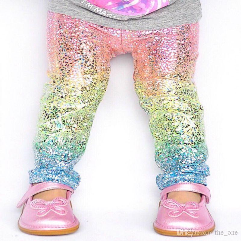 Cute Rainbow sequin Skinny girls leggings Toddler baby kids Pencil Pants Trousers sparkle Unicorn leggings Tights