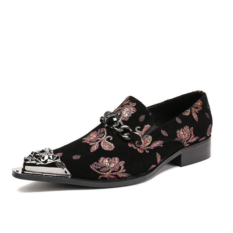 Mode-Männer mit Blumenmuster Kristall-Kleid-Schuhe Männlich Metall Spitzschuh echtes Leder Büro-Partei-Schuhe Bankett Schwarz Schuhe