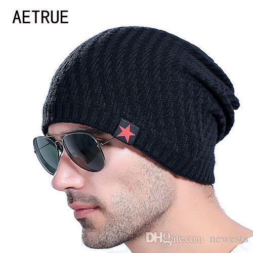 Marka erkek Örme Şapka Kasketleri Erkekler Kış Şapka Erkekler Için Bonnet Skullies Caps Kadınlar Kış Beanie Sıcak Kalınlaşmak Baggy Maske ...