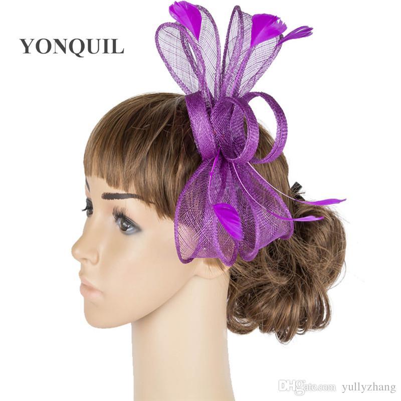 Tüm sezon MYQ072 için 17 renk sanatsal sinamay malzeme fascinator şapkalar kadınlar düğün başlık parti saç aksesuarları kilise şapka takım