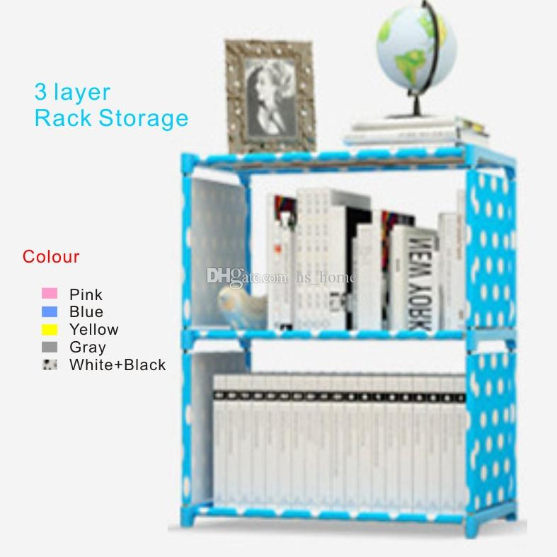 New 3 layer Rack Storage Simple book storage frame,5 colors,Thickened stainless steel pipe, film covered waterproof nonwoven fabric.