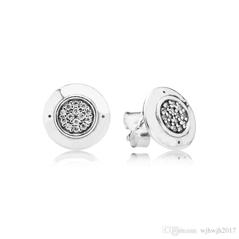 2018 New Authentic 925 Sterling Silver Earring Crystal Stud Earrings For Women Wedding Party Gift fit Lady Fine Jewelry