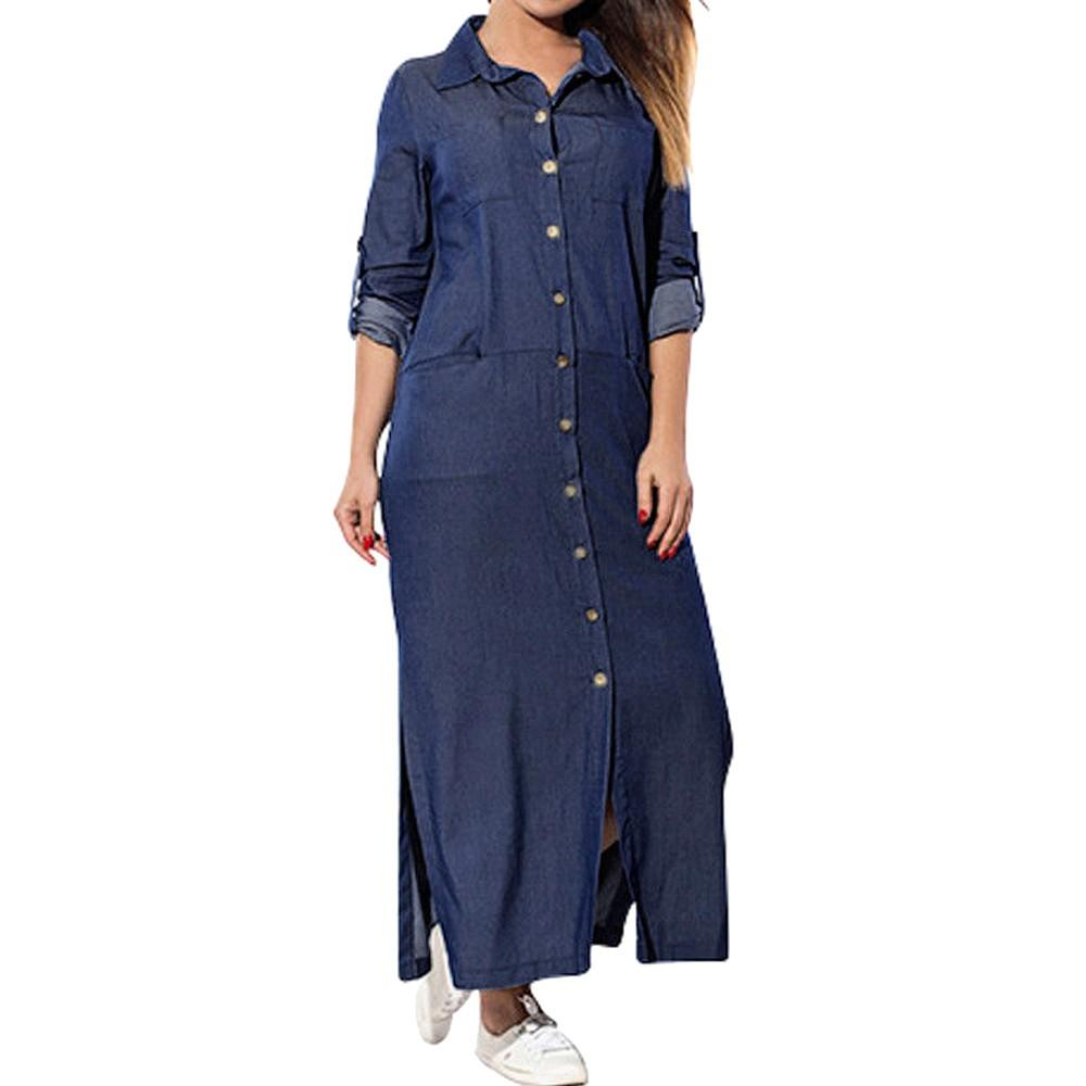 2019 Sexy Streetwear Botón Frente Vestido largo Vestidos de otoño de manga larga Azul Vestidos Feitong Vestido de camisa de mezclilla casual