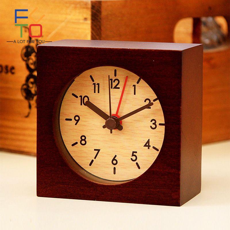 Antique Mini Table Alarm Clock Vintage Wooden Desk Alarm Clock Retro Natural Beech Pastoral Despertador Square Needle