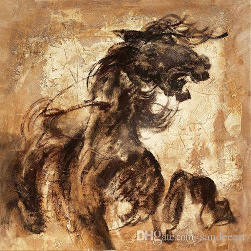 Contemporary Giclee Print Art Wall Animal Horse Abstract oil painting Modern Canvas picture for Living Room Home Bedroom Decor gift JW568