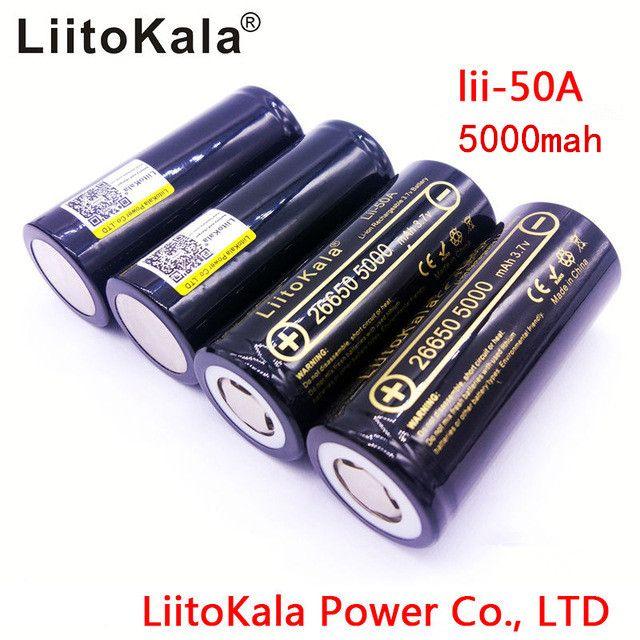 Liitokala LII-50A originale di 100% 3.7 V 5000 mAh 26650 INR26650 20A linterna de La Bateria De Litio ricaricabile / batería micrófono 4PS