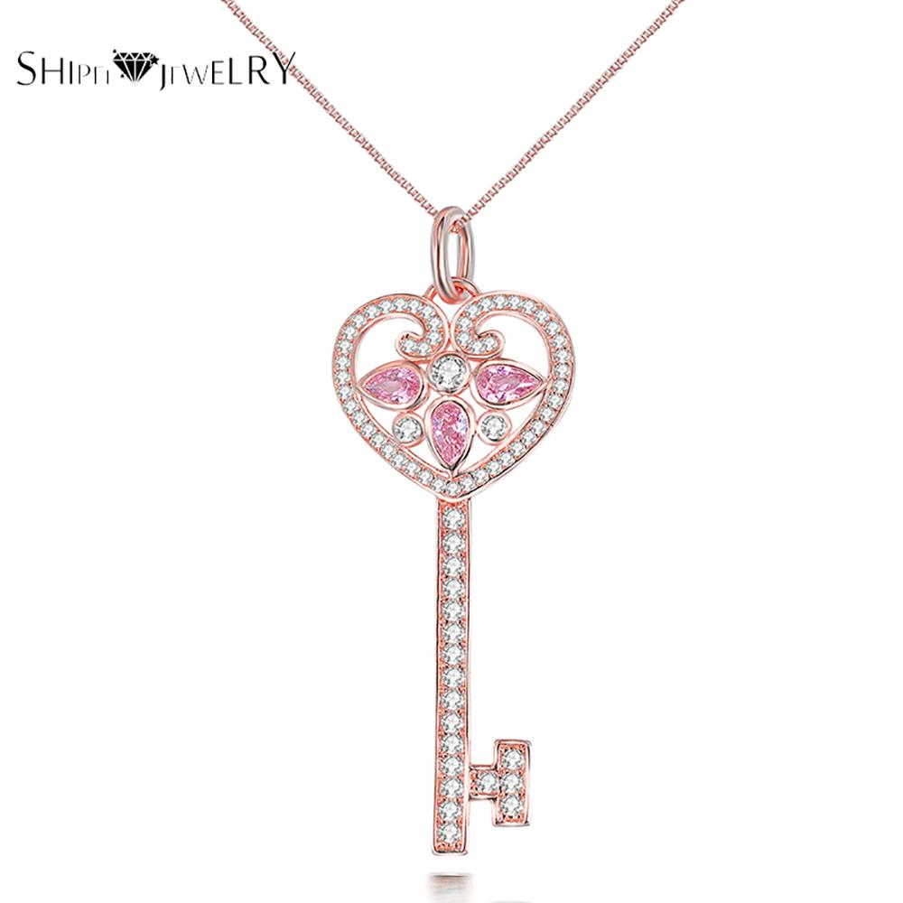 ShiPei New Jewelry Key Design Pendant Necklace Crystal CZ Best Selling Necklace Pendant For Girls