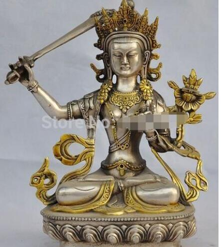 "10/""Chinese Fengshui Bronze Guan Gong Yu Warrior God Sword Stand in Dragon Statue"
