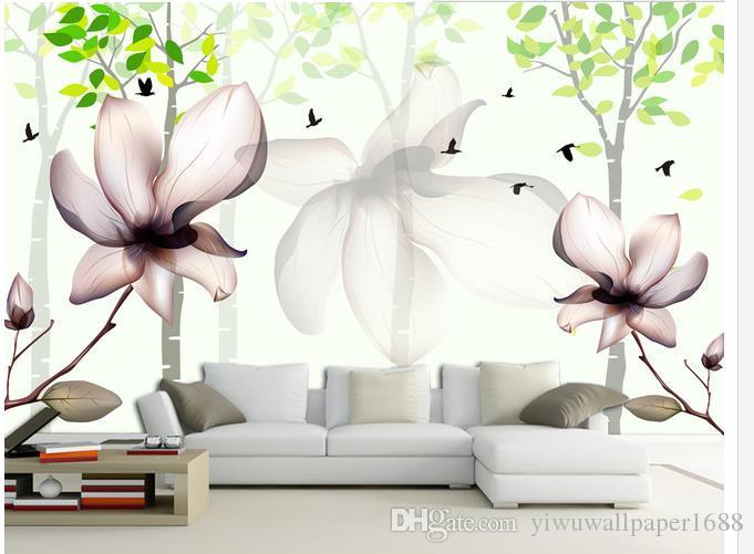 Frais et élégant salon TV canapé fond peinture murale papier peint pour les murs 3 d pour le salon