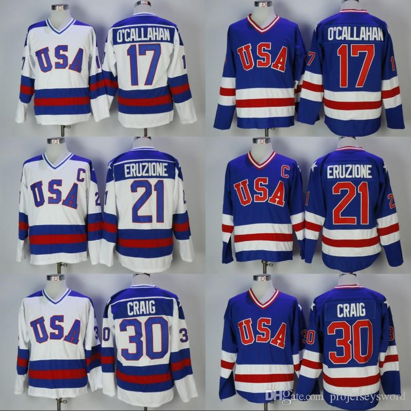 Mens 30 Jim Craig 21 Mike Eruzione 17 Jack O'Callahan 1980 Miracle On Ice Team USA Hockey Jerseys Cheap White Blue