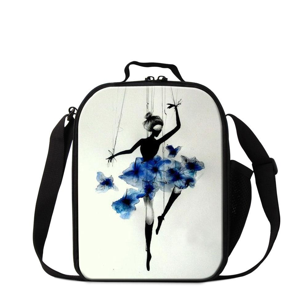 Small Lunch Bag for Kids Girls Trendy Ballet Dancing Girl Cooler Bag Bento Box Personalized Insluated Lunch Container Cute Lunch Box Ladies