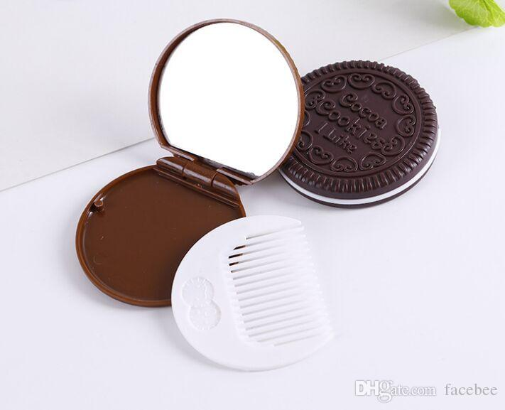 Cookie Brown mignon en forme de conception chocolat miroir de maquillage peigne MYY