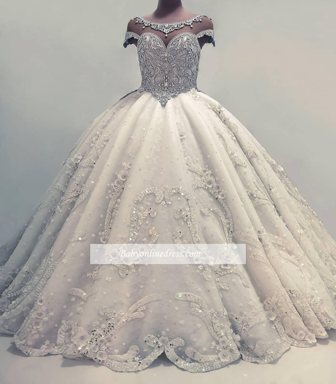 Sparkly Crystals Beaded Ball Gown Wedding Dresses Sheer Scoop Neck Short Sleeves Appliques Long Wedding Gowns Plus Size