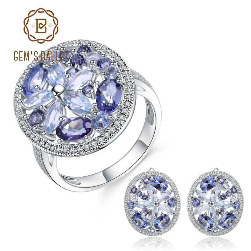 BALÉ GEM'S Natural Céu Azul Topázio Místico Anel De Quartzo Brincos 925 Sterling Silver Gemstone Set Jóias Vintage Para As Mulheres