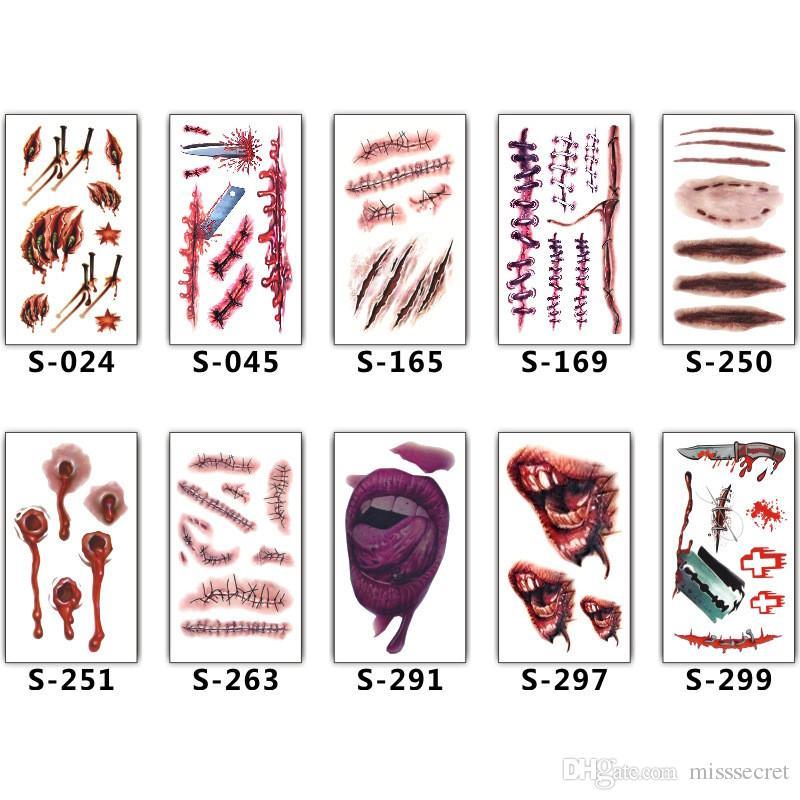 2018 New Halloween Cicatrices Tatouages Décor Autocollant Tatouages Temporaires Faux Scab Maquillage Parti Horreur Blessure Effrayant Imperméable Paster Tatouage Fournitures