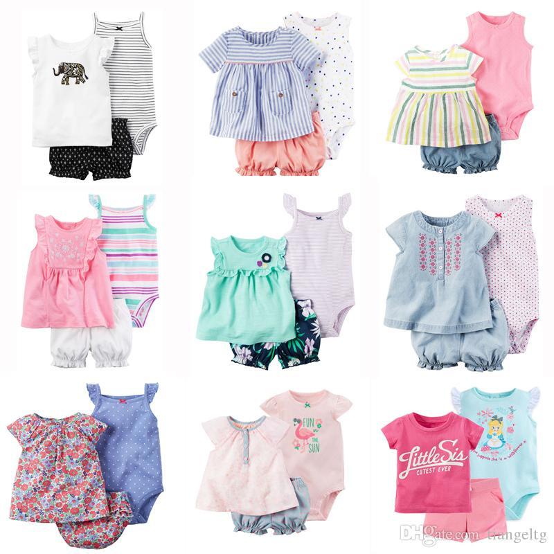 Nouveau-né bébé barboteuses costumes 100% coton 22 dessins colorés rayé broderie flora points de dessin animé t-shirt + triangle barboteuse + shorts 3 pcs / lot