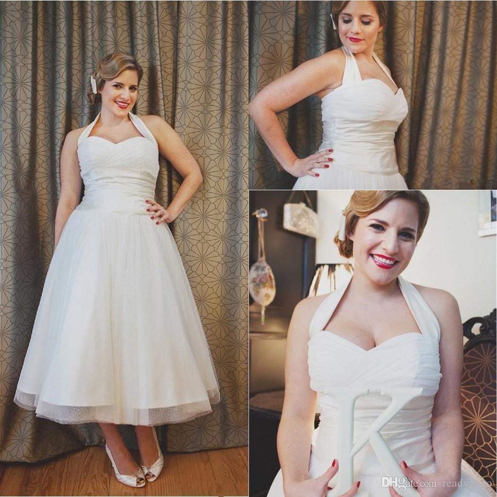 Vintage Style 50s Wedding Dresses Ankle Length A Line Halter Neck Pleated Tulle Satin plus size Waistband outdoor Bridal Gowns