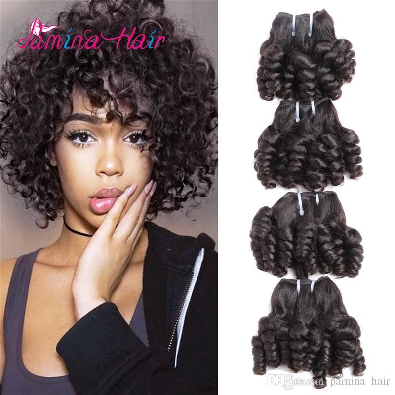 Funmi Cheveux Bouclés 4 Bundles Naturel Noir Non Transformés Remy Humains Courtes Boucles Bouncy Armure Brésilienne Vierge Extensions 200Gram / lot