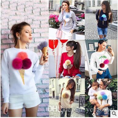 Hot Sale Cute Bombom Hoodies Women's Crew Neck Long Sleeve Solid Fur Ball Sweatshirts Removable Cotton Hoodies Free Shipping
