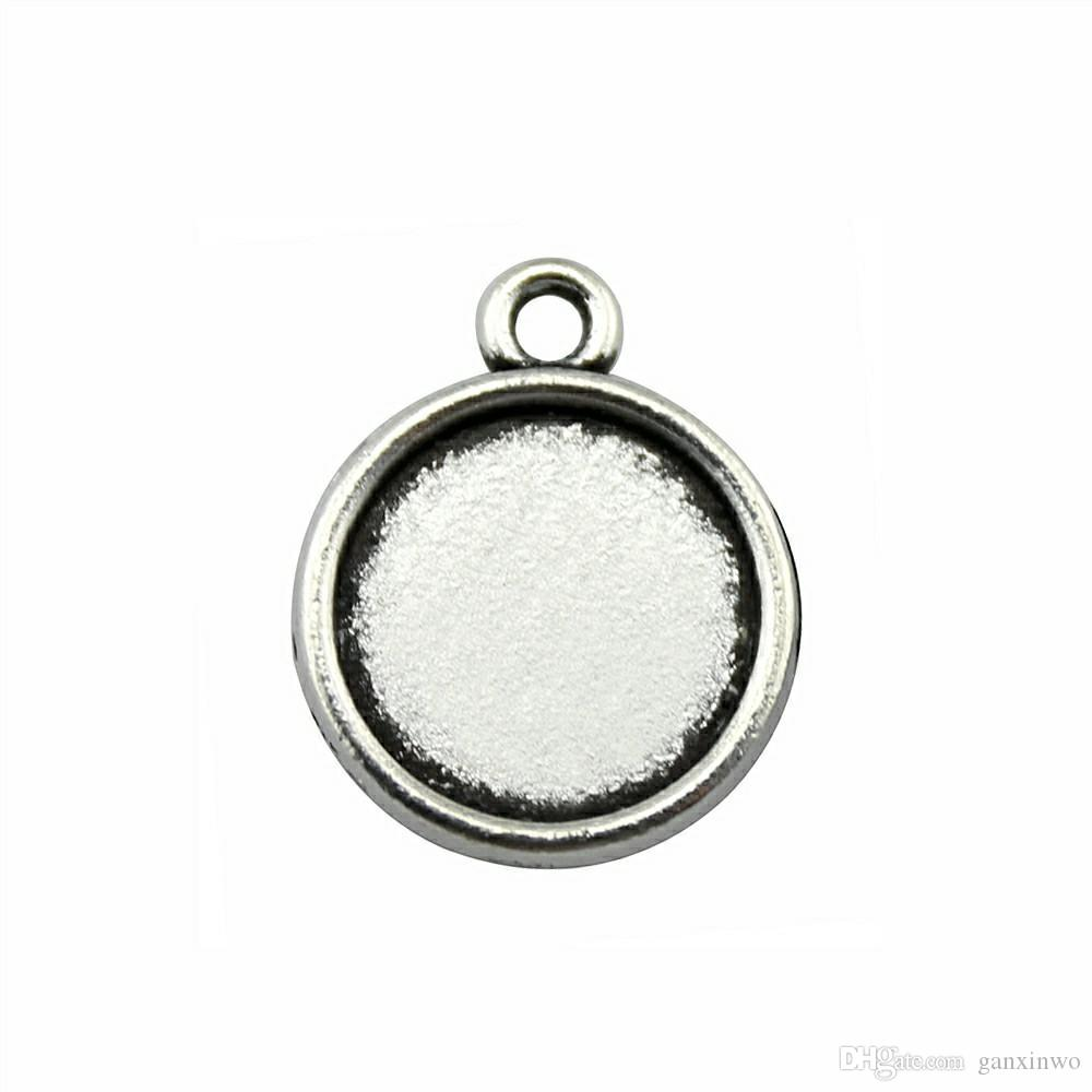 50 Pieces Cabochon Cameo Base Tray Bezel Blank Diy Accessories For Classic One Hanging Inner Size 12mm Round Necklace Pendant Setting