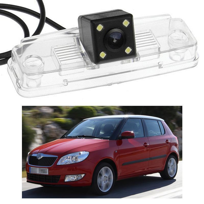 Новый 4 LED камера заднего вида автомобиля обратный резервный CCD подходит для Skoda Fabia 2008-2012 09 10 11
