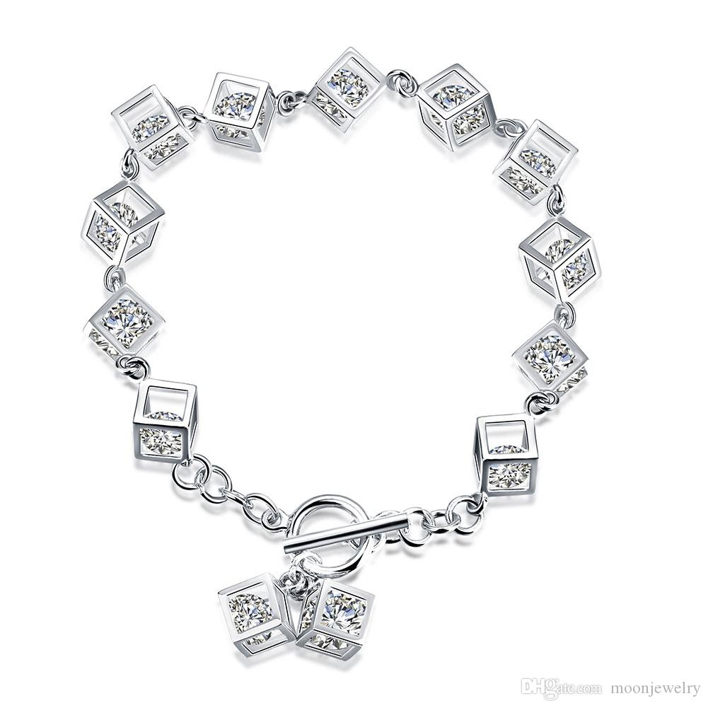 hot sale the magic square cubic zircon bracelet 925 sterling silver European style ladies bracelet for girlfreind gift