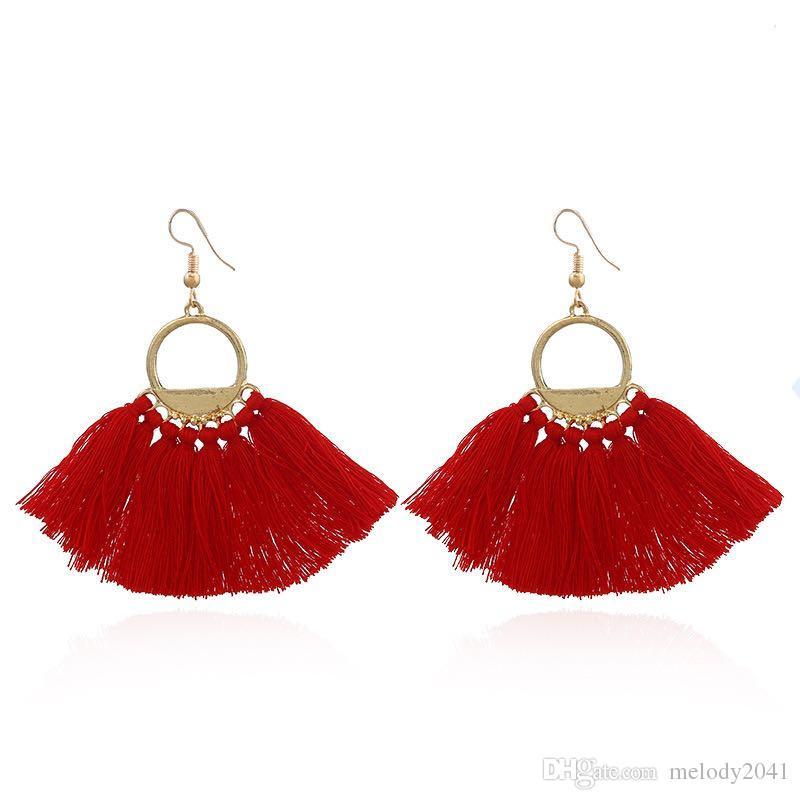 Hot Sale Simple Handmade Creative Tassels Earrings Fashion Women Design Fan-shaped 4 Colors Ear Pendants Wholesale