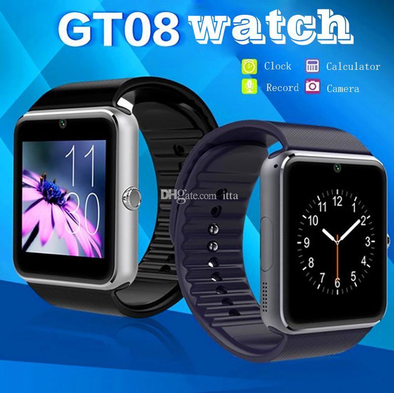 GT08 Bluetooth Smart Watch с шагомером SIM-карты Sleep Tracker адаптированы Wechat Twitter Facebook с пакетом