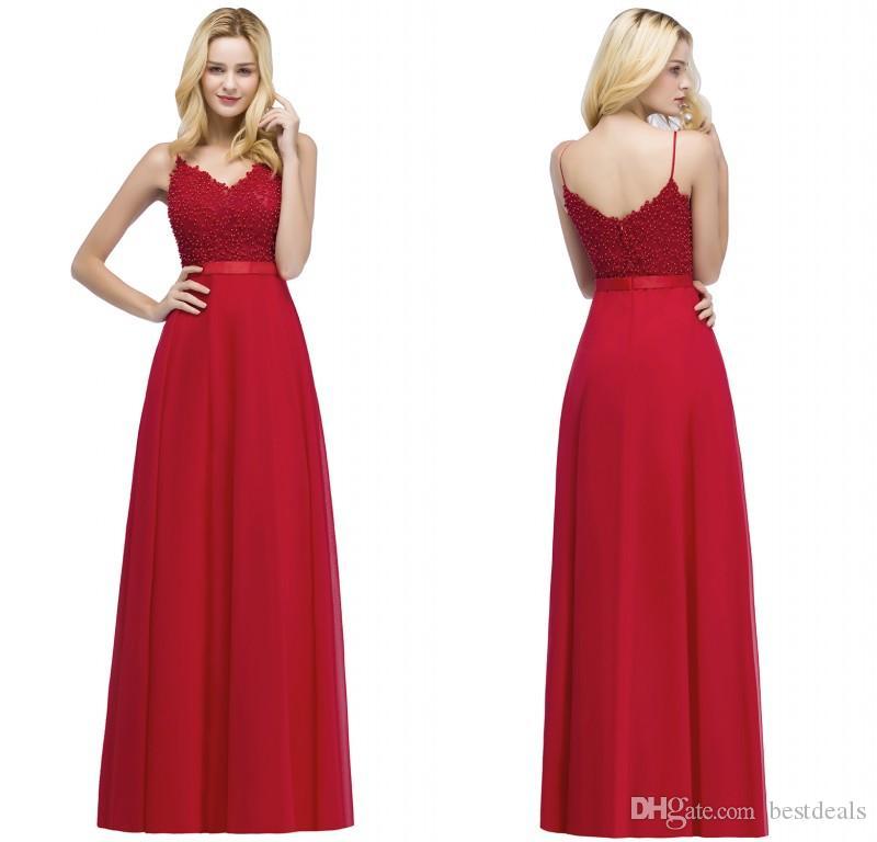 2018 Nuevo diseñador de la llegada Vestidos de fiesta de la tarde Red Spaghetti Correas con cuentas Top Gauffon Vestidos de fiesta largos CPS871