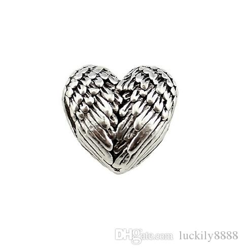 Free Ship 100Pcs Tibetan Silver Big Hole Lovely Heart Wing Beads Charms Spacer Beads For Jewelry Making 11x11.5mm Hole 4.5mm