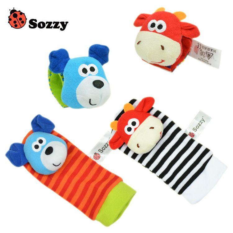 New Lamaze Style Sozzy donkey Zebra Wrist Rattle and Socks baby plush cartoon toys