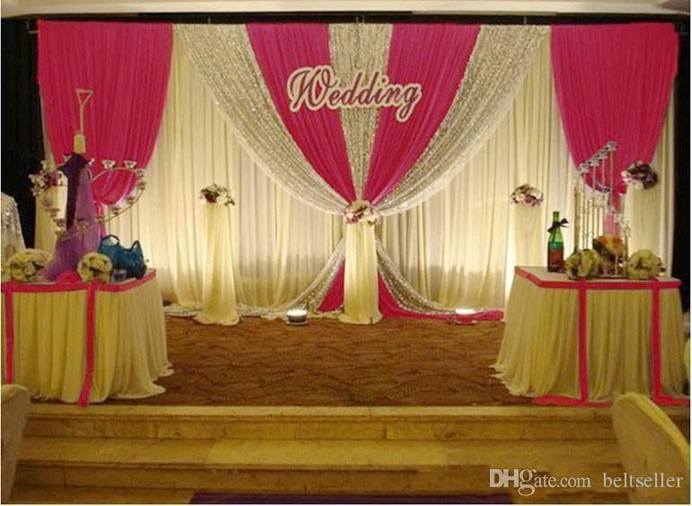 3 متر * 6 متر أبيض اللون الجليد الحرير الزفاف خلفية الستائر الفضية الترتر الستائر الزفاف الدعائم الساتان الستارة الستار حزب الديكور