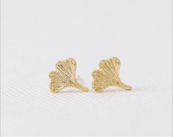 2018 Moda ginkgo biloba damızlık küpe altın gümüş gül altın Kaplama saplama küpe toptan ücretsiz kargo