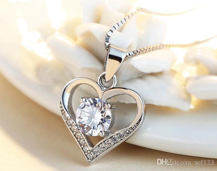 925 collier en argent sterling dames de mode pendentif en forme de coeur chaîne courte de la clavicule