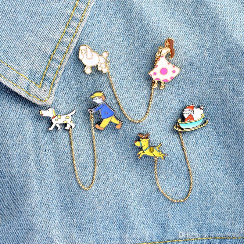 Alfinetes e broches Papai Noel com alces Menina com cachorro Passear com o cachorro broches Broches Lapela pin colar de jóias