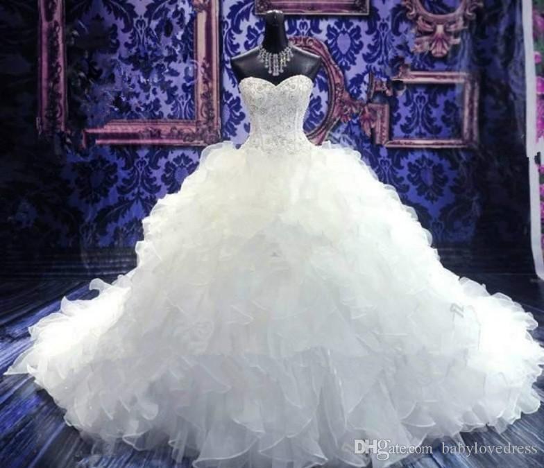 Image réelle cristal perlé Vintage Corset Blanc Sexy Brides taille des robes nouveau style Chine sexy de mariée longue Robes de mariée