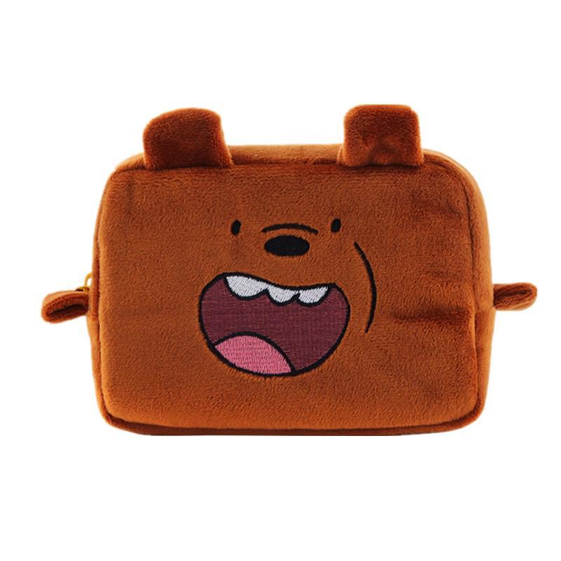 Women's Cute Cartoon Bear Cosmetic Bag Travel Organizer Girl's Cute Beauty Makeup Vanity Cases Pouch Toiletry Kit Storage Box