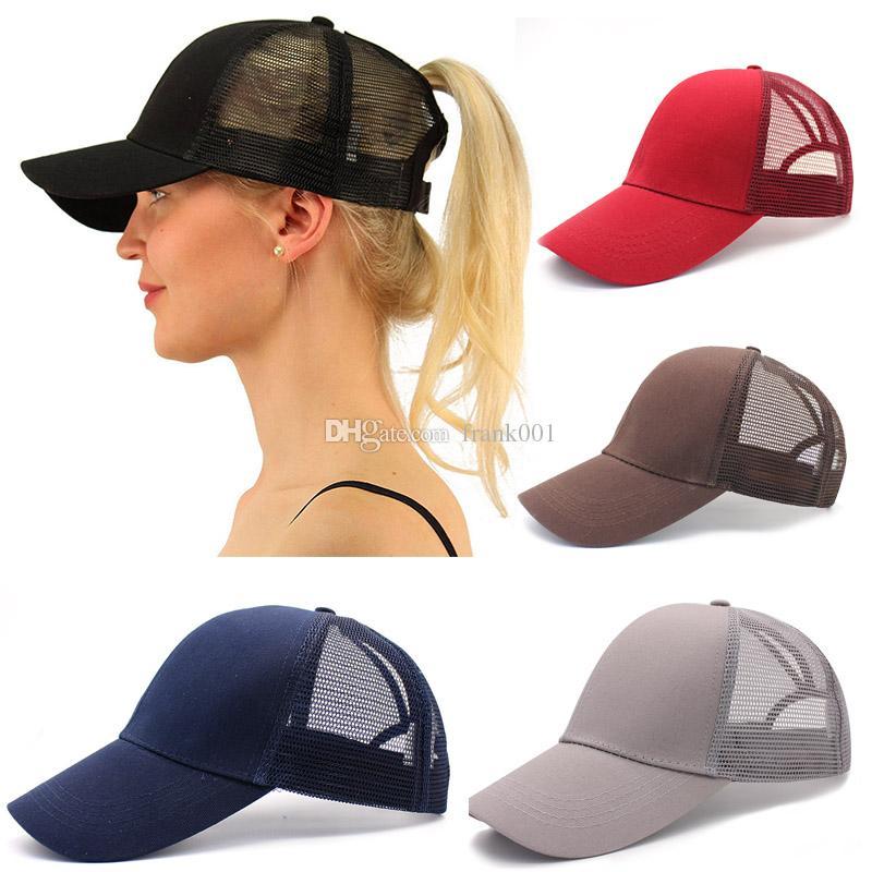새로운 도착 포니 테일 헤어 야구 모자 여자 지저분한 롤빵 야구 여름 모자 Snapback 그리드 무료 배송