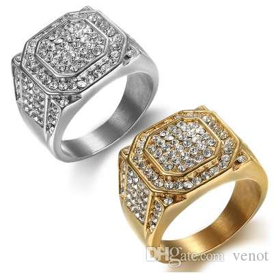 HIP Hop plata Micro Pave Rhinestone Iced Out Bling Big Square Ring IP Gold Filled Anillos de acero inoxidable para hombres joyas