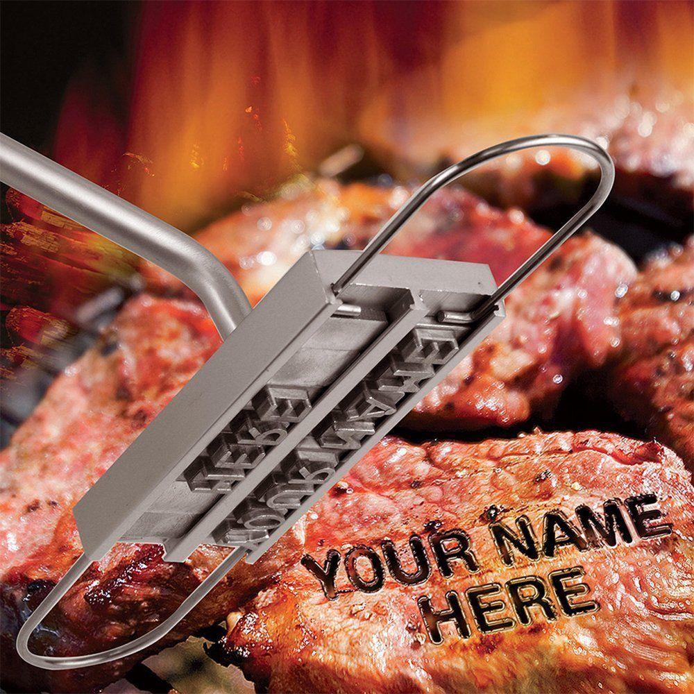Ferramentas de ferro em brasa para churrasco de churrasco com letras mutáveis 55 Fogo Marca de impressão Alfabeto Alumínio de cozimento ao ar livre para grelhar carne de bife