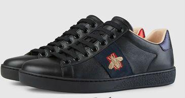 Ás Sapatos de Designer Sapatos preto branco Sapatilhas Ocasionais 100% couro Abelha bordado Rhinestone sapatos de salto alto Mulheres Sapatilhas de Couro Genuíno