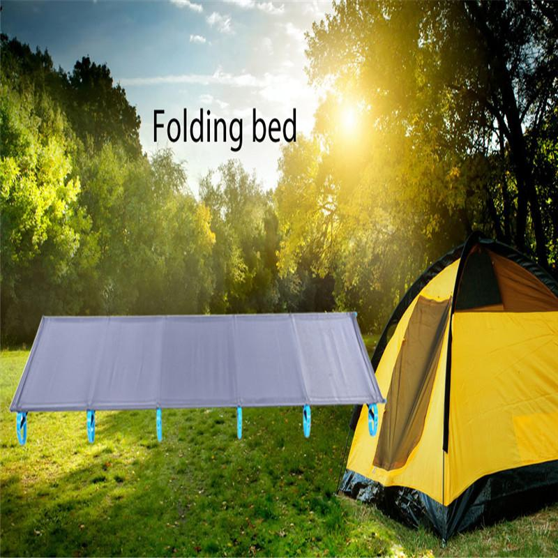 Outdoor Folding Bed Camping Mat Ultralight Single Bed Cot Sturdy Comfortable Portable Sleeping Supplies With Aluminium Frame