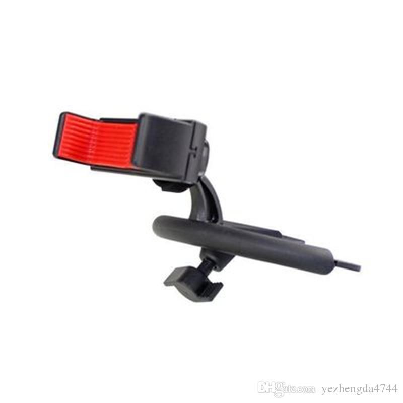 Flexible 360 degrees Rotation Car CD Player Slot Mount Holder Portable Adjustable Universal Vehicle Phone Bracket Black
