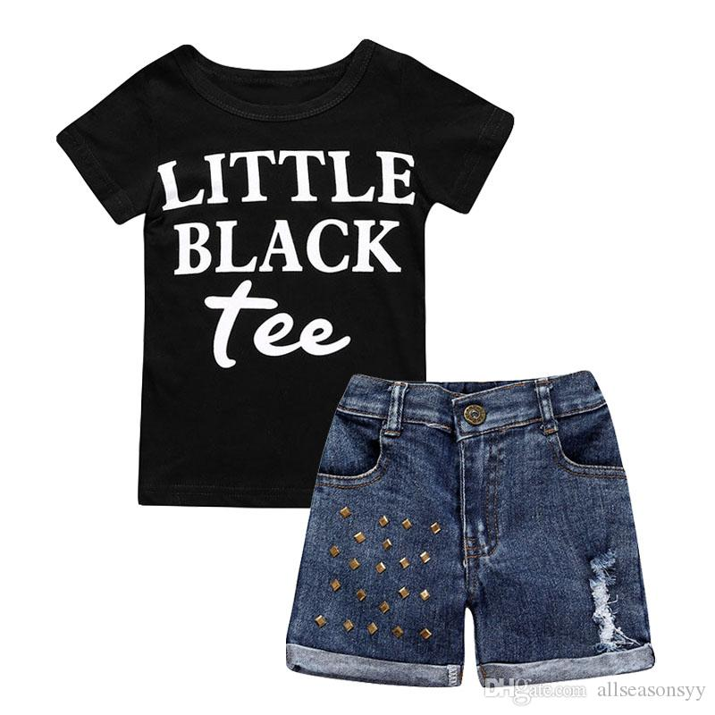 Children Clothing 2018 Summer Baby Girls Clothes T-shirt+Jeans 2pcs Outfits Kids Clothes Sport Suit For Girls Clothing Sets