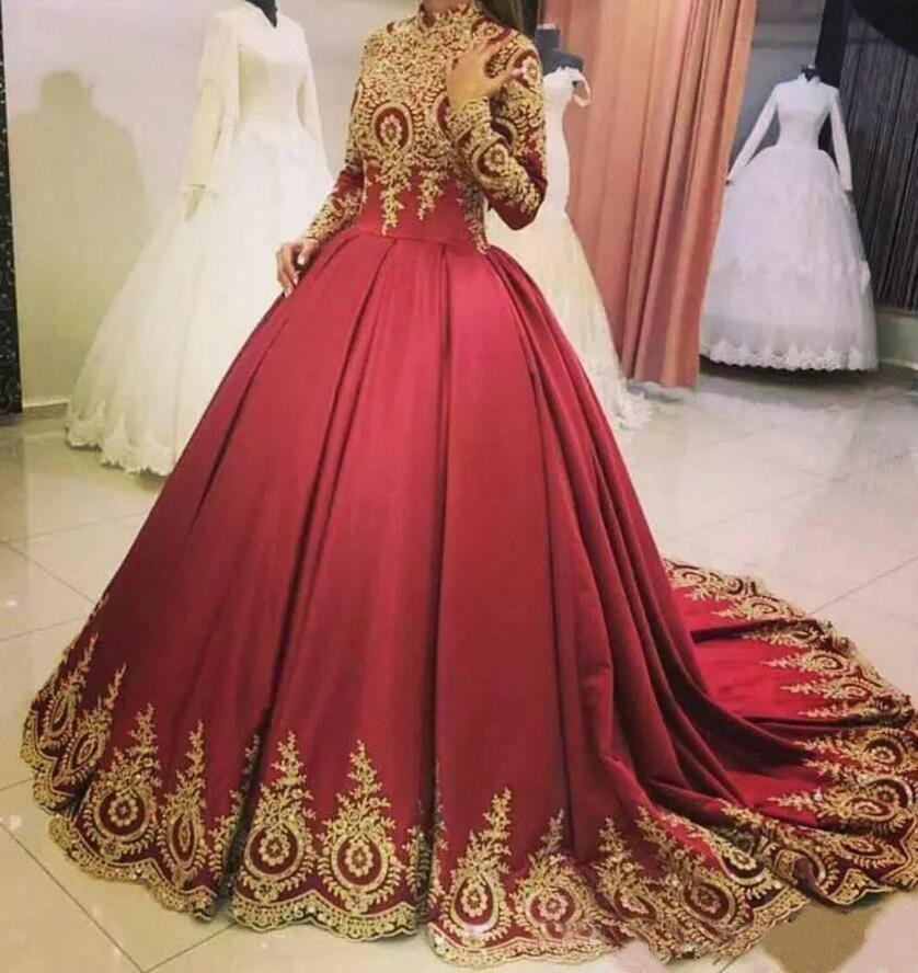 부르고뉴 공단 롱 슬리브 Mulsim 웨딩 드레스 2020 높은 목 금 아플리케 두바이 아프리카 신부 드레스 플러스 사이즈 성인식 공 드레스