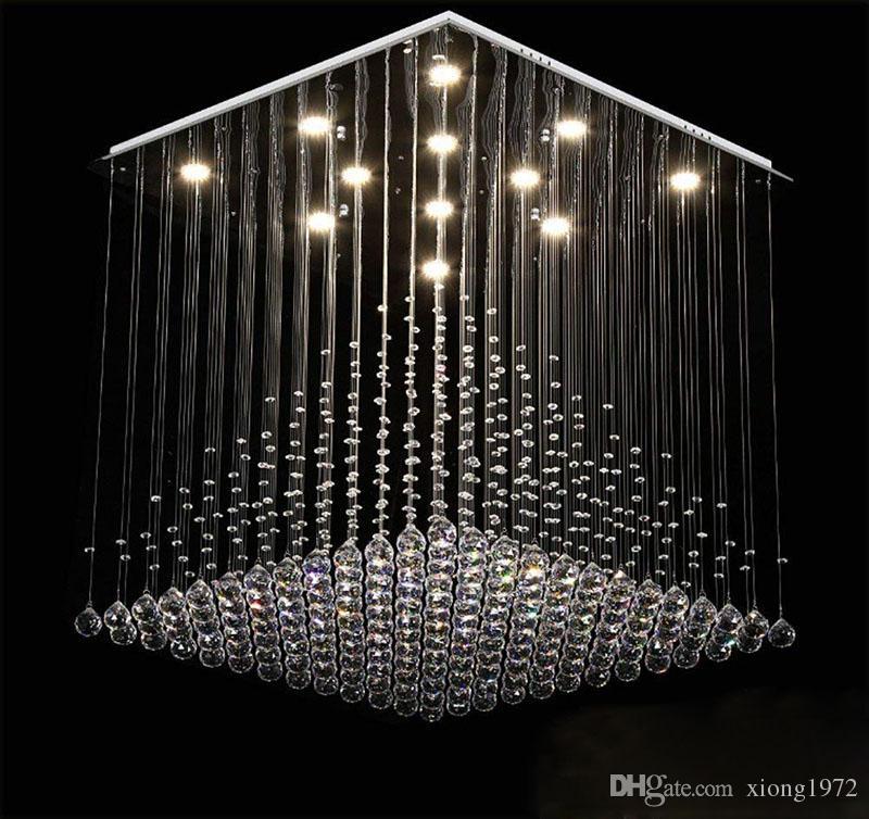 Hängedraht Deckenleuchte LED 3 Helligkeit K9 Kristall und Chrom Spiegel Edelstahl Kronleuchter Deckenleuchte Kronleuchter LED Birne und ...